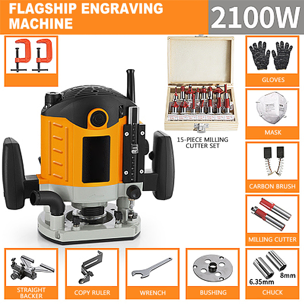 220V 2100W Woodworking Electric Router trimmer Wood Milling Engraving Slotting Trimming machine Hand Carving Carpentry