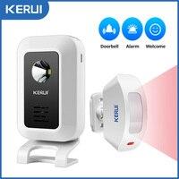 KERUI M7 con Sensor de movimiento alarma de seguridad 32 timbre de canciones timbre inalámbrico casa inteligente LED de luz de la noche de ventana de puerta de tienda