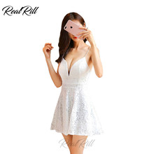 Real Rill V Neck Lace Mini Homecoming Dress Spaghetti Strap Up Back A Line Short Prom Cocktail