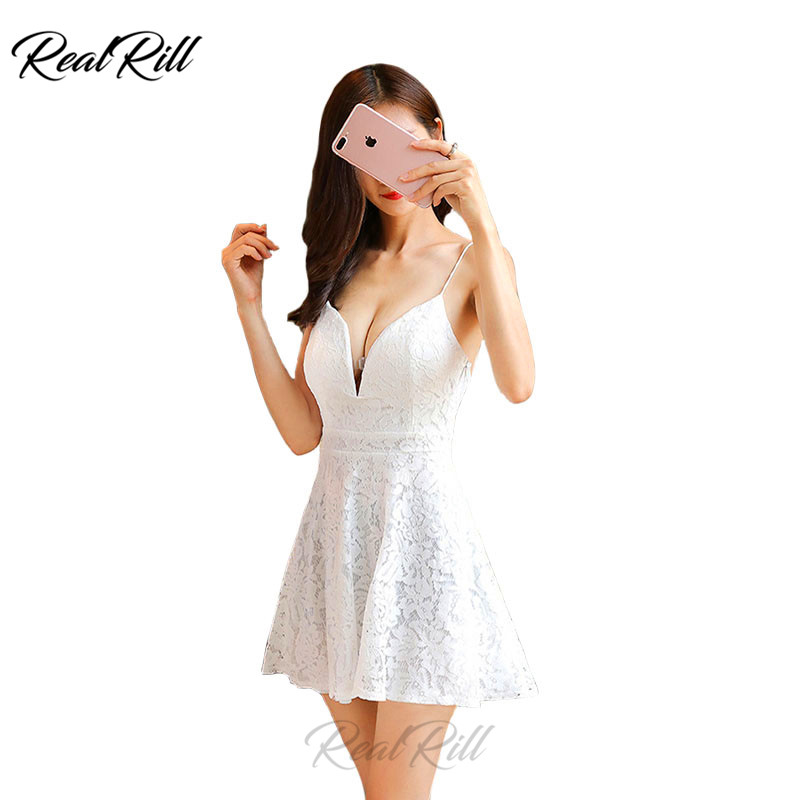 Real Rill V Neck Lace Mini Homecoming   Dress   Spaghetti Strap Lace Up Back A Line Short Prom   Dress     Cocktail     Dress