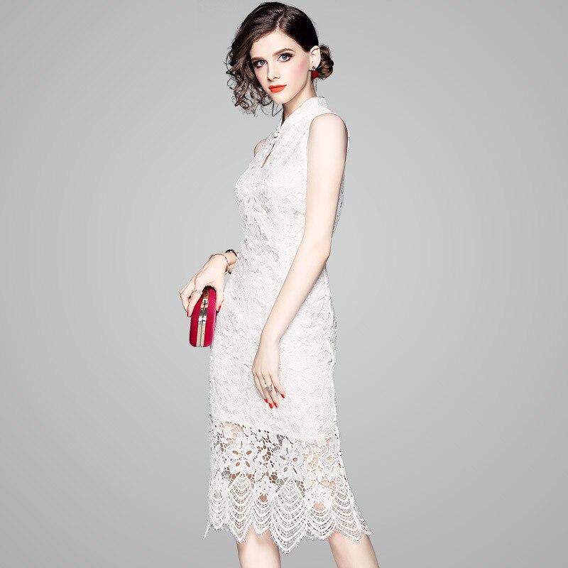 Robe femmes été 2019 nouveau Style Debutante élégant crocheté fleurs percé Slim Fit minceur moyenne longueur jupe formelle Dre