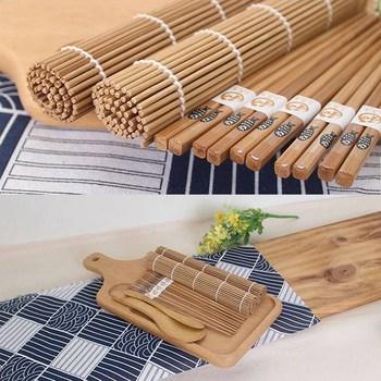 9pcs/set Sushi Mat Bamboo Knife Rice Spoon Chopsticks Sushi Maker Set Rice Mold Kitchen Sushi Mold Cooking Tool 6