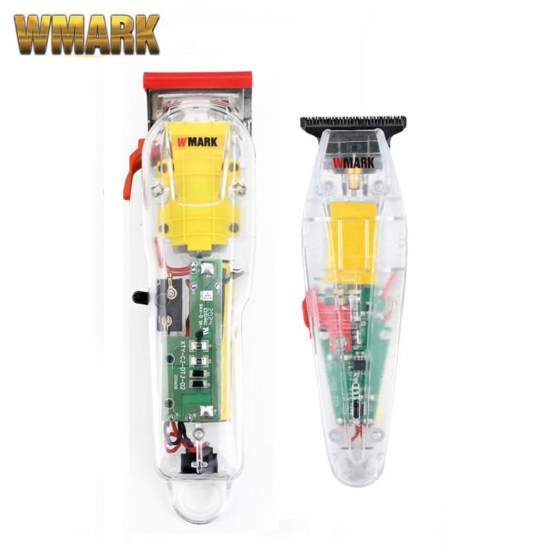 WMARK прозрачный 2 в 1 Набор NG-108 Перезаряжаемые машинки для стрижки волос, машина для резки беспроводные и Detailer триммер комплект