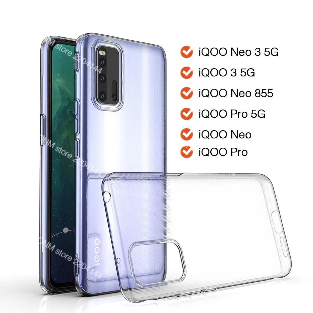 Case For Vivo Iqoo Neo 3 5G TPU Silicon Clear Fitted Bumper Soft Case For Vivo Iqoo Neo 855 Pro Neo Transparent Back Cover