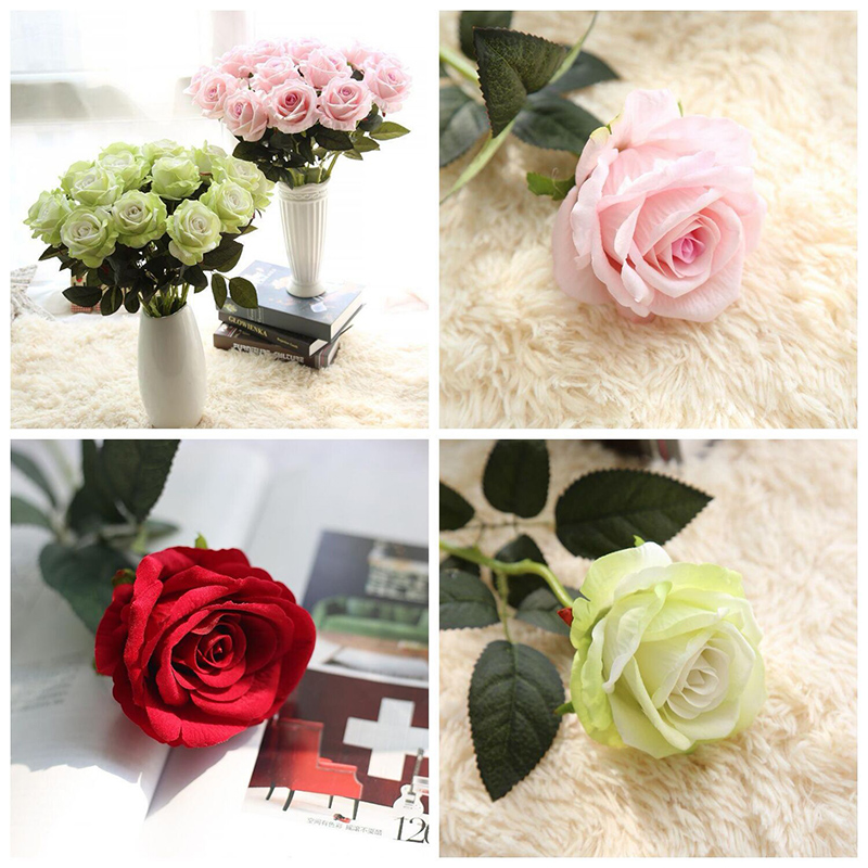 Home Decor Artificial Fake Roses Flannel Flower Bridal Bouquet Wedding Party Roses Silk Flowers Bunches Fake Flowers