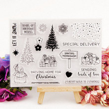 Christmas Tree Clear Stamps for DIY Scrapbooking Snowman Transparent Stamps Card Making Album paper Craft Decoration New Stamps merry christmas tree sticker painting stencils for diy scrapbooking stamps home decor paper card template decoration album craft