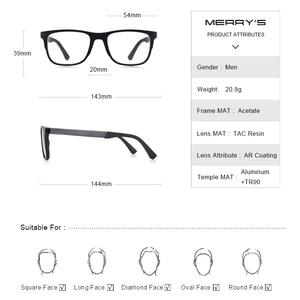 Image 4 - MERRYS עיצוב גברים כיכר משקפיים זכר אופנה קוצר ראיה מרשם משקפיים TR90 מסגרת טיטניום סגסוגת רגליים S2033