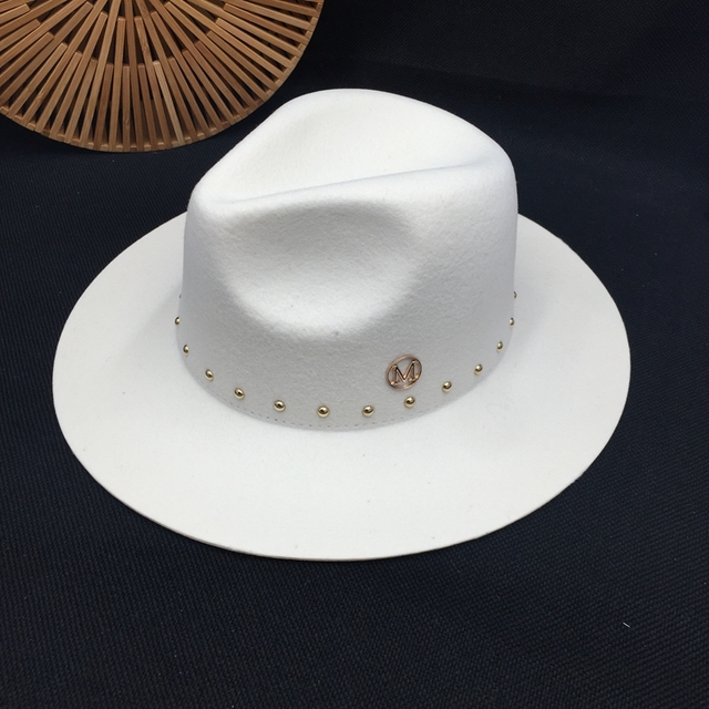 Edycja han standardowy biały kapelusz z wełny Fedoras nowa anglia jesienno zimowa nitowa czapka przypływ męskie kapelusze damskie