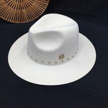 Han baskı standart beyaz Fedoras yün şapka New England sonbahar kış perçin kapağı gelgit erkek bayan şapkaları