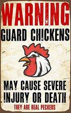 Предупреждение гвардии цыплят забавные металлический знак смешной курятник куриной металлические знаки настенной декорации, металлическ...