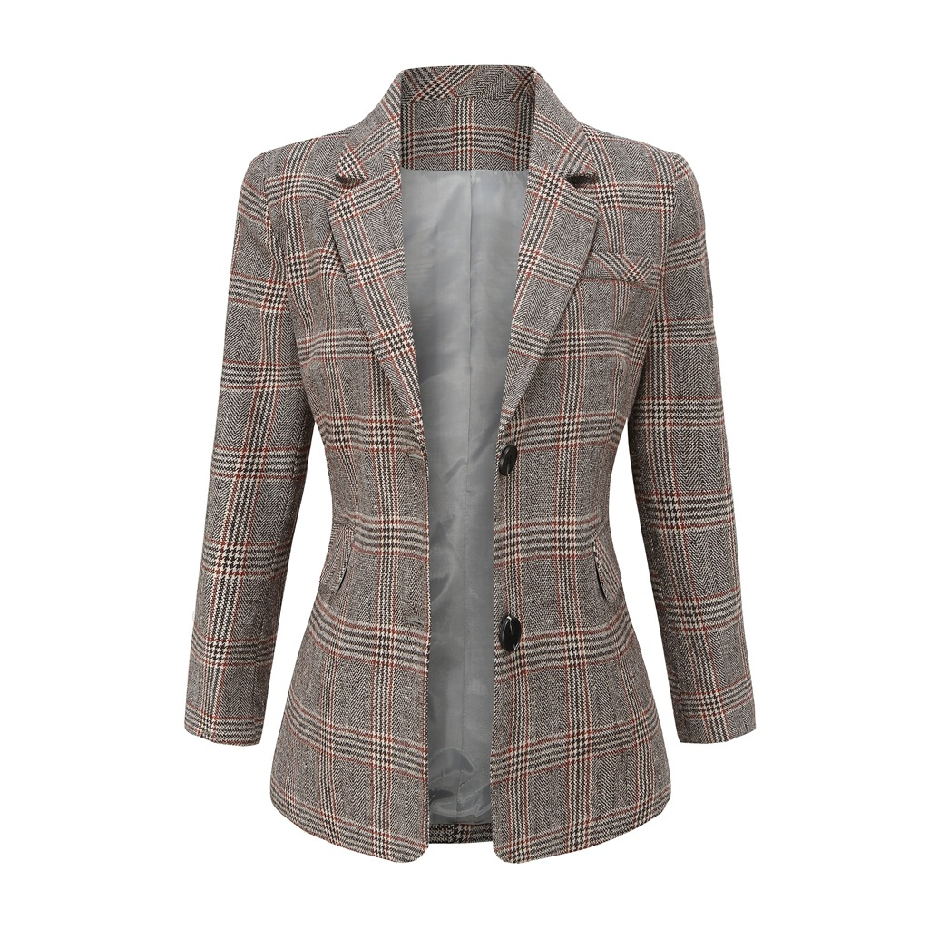 Vintage Double Breasted Office Plaid Blazer Women 2020 Autumn Spring Casual Long Sleeve Loose Suit Coat Female Elegant Clothes