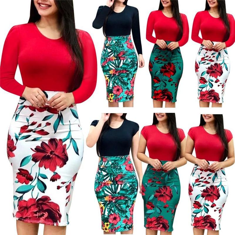 4XL 5XL Plus Size Women Dress Autumn Sexy Slim Package Hips Mini Dresses Casual Long Sleeve Patchwork Floral Print Dress Vestido