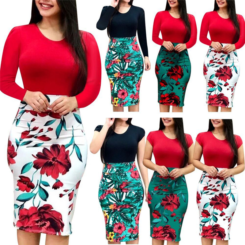 4XL <font><b>5XL</b></font> Plus Size Women <font><b>Dress</b></font> Autumn <font><b>Sexy</b></font> Slim Package Hips Mini <font><b>Dresses</b></font> Casual Long Sleeve Patchwork Floral Print <font><b>Dress</b></font> Vestido image