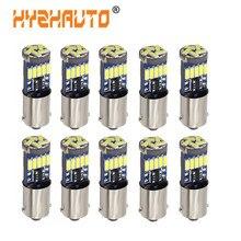 Hyzhauto lâmpadas de led para carro, 10 peças, ba9s t4w, branco 4014 15-smd t11 h6w, interior automotivo, domo/porta lâmpada canbus para marcador lateral 12v