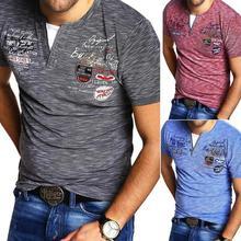 ZOGAA 2019 new summer mature mens short-sleeved T-shirt comfortable casual printing polyester Henry collar men
