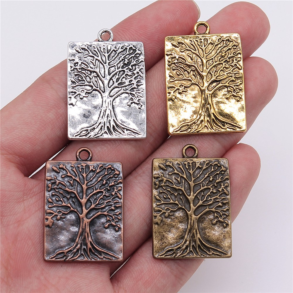 4pcs 32x22mm Antique Copper Color Tree Charms Jewelry Accessories For Jewelry Making