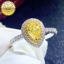 18k white gold diamond ring Engagement&Wedding Natural Real yellow Diamond Ring Jewellery have certificate 005(China)