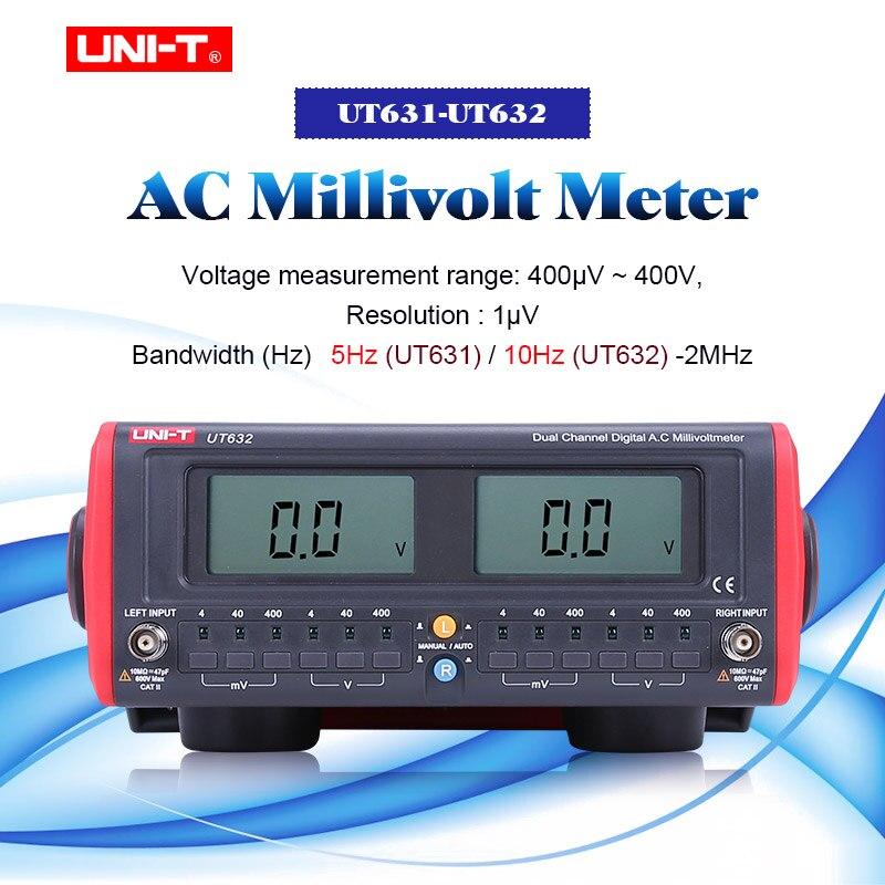 UNI-T UT631 UT632 AC Millivolt mètre double canal AC Milli Volt mètres Voltimetro numérique LCD affichage testeur de tension 4 mV-400 V