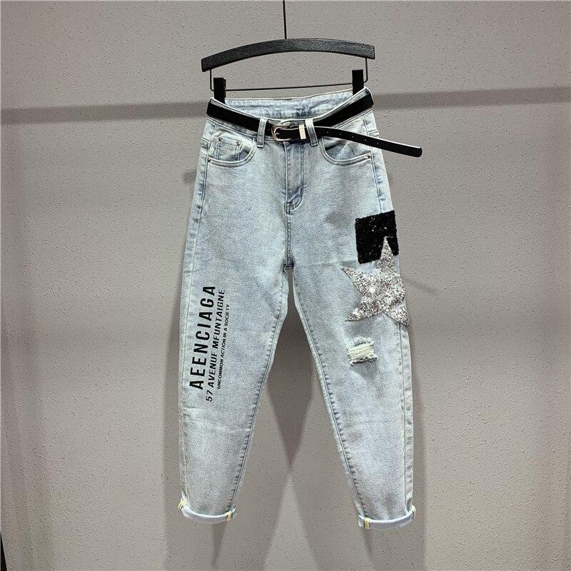 Pantalon jean ample pour femme nouveau printemps automne pantalon en jean Long femme Applique lettre slim sarouel Calca jean Feminina