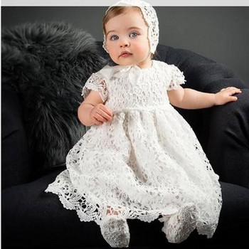 1 Year Birthday Baby Girl Dresses For Baptism Baby Girl Christening Gowns Wedding Party Pageant Lace Dress Newborn Toddler Bebes with hat baby christening dress empire waistline short sleeves lace appliques ruffled baby girl baptism birthday gowns hot sale