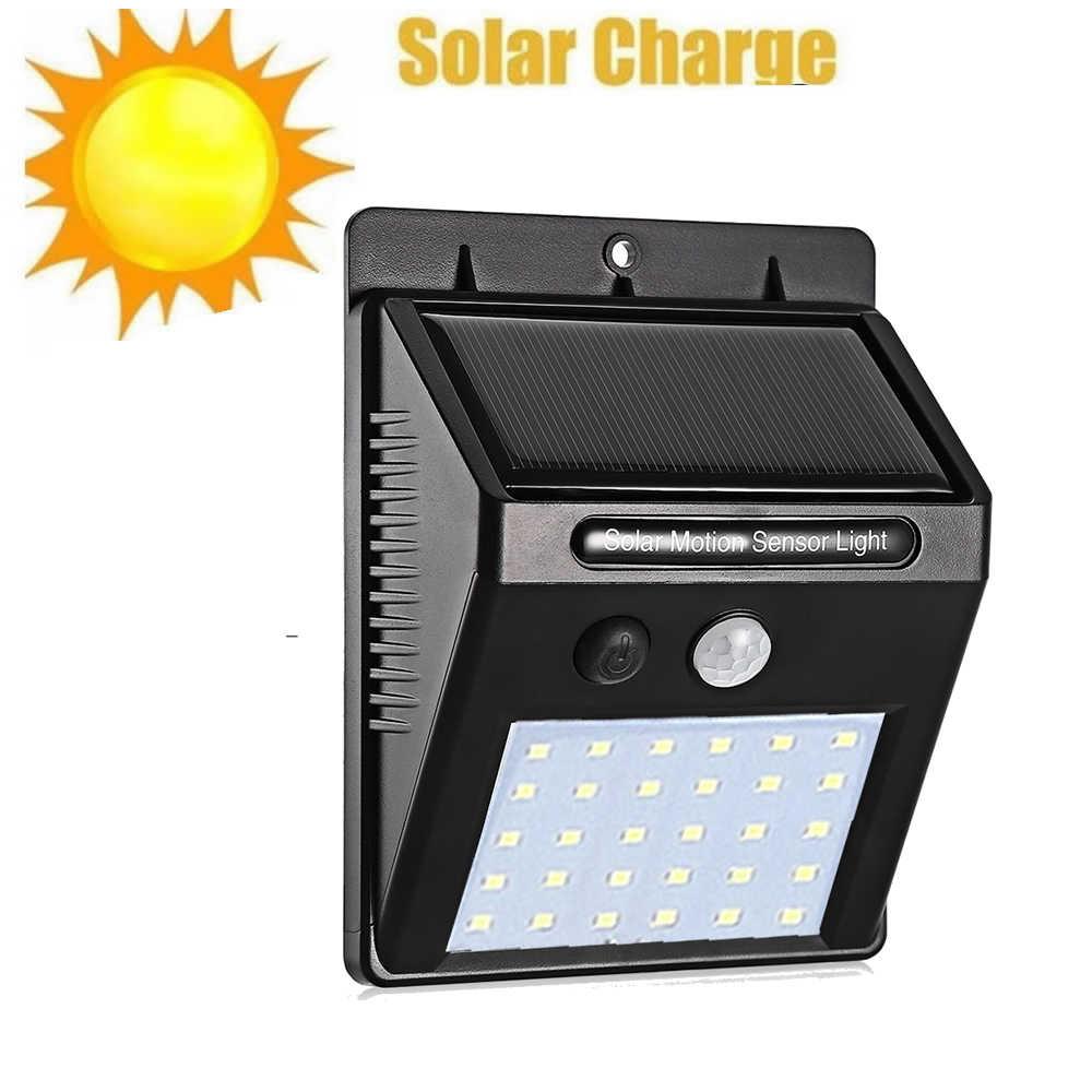 30 светодиодный солнечный свет уличная Солнечная лампа PIR датчик движения Солнечная панель Ночная безопасность настенный светильник сад двора путь водонепроницаемый поток