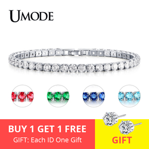 UMODE Fashion Charm CZ Tennis Bracelets for Women Men Colorful Zircon Jewelry Box Chain Braclets Gift Bracelet Pulseira AUB0097X(China)