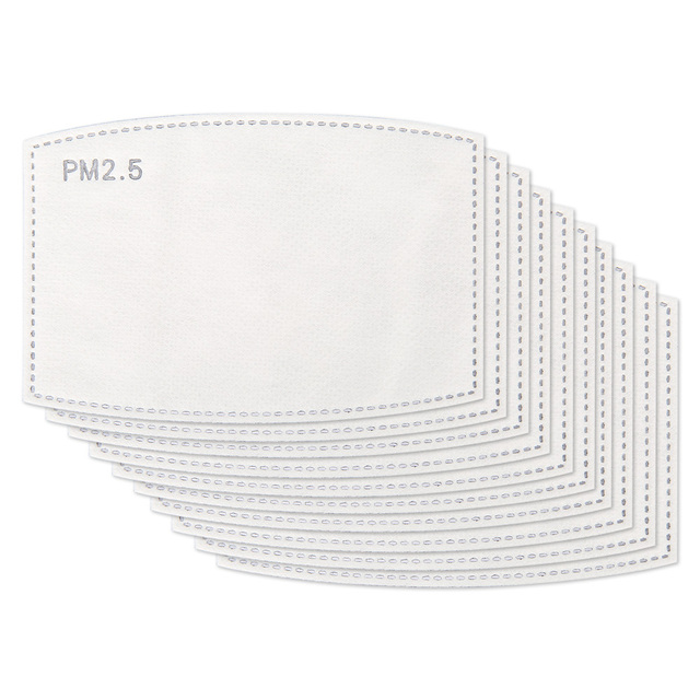 100 PCS 5 Layer PM2.5 Filter Anti Haze Disposable Mouth Face Mask Flu Anti Pm 25 Dust Masks Replacement Activated Carbon 1