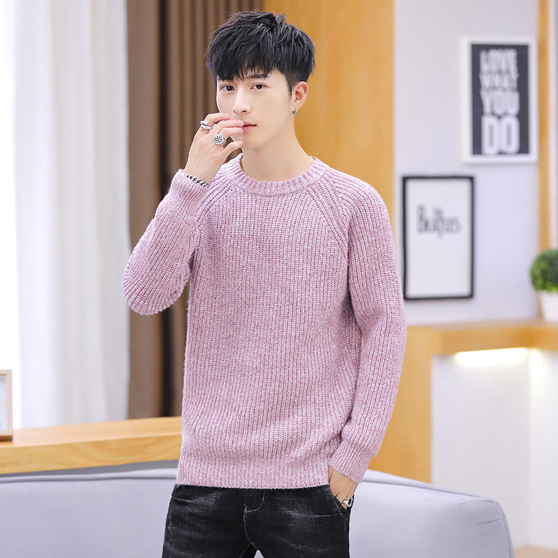 Winter Long Sleeve Men Sweater Black Grey Red Pink Purple Pullovers O-Neck New Fashion Casual Mens Sweaters