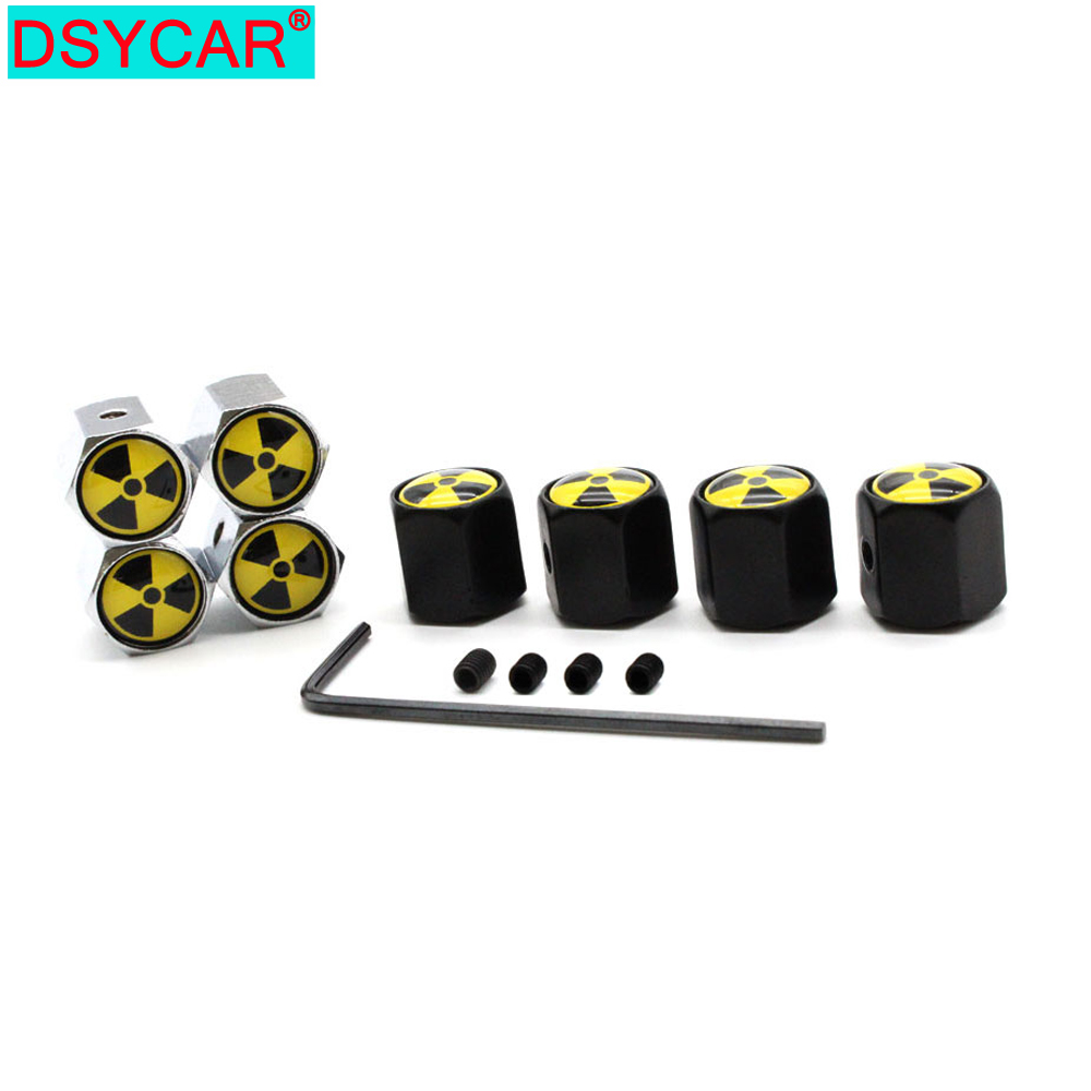 DSYCAR 1Set Car Styling Zinc Alloy Nuclear Bombs Logo Emblem Anti-theft Tire Valve Caps Auto Tyre Air Stems