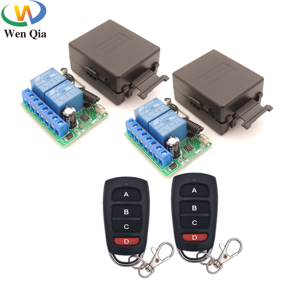 433MHz Wireless Universal Remote Control DC12V 10Amp 2CH 2 gangs rf Relay Receiver and Transmitter for road door / Motor switch