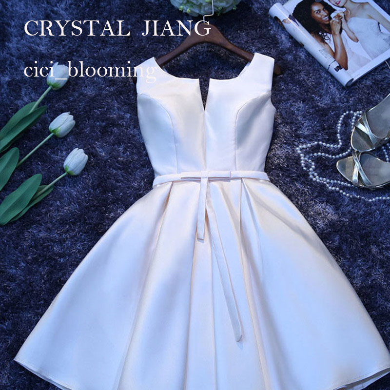 Short   Bridesmaid     Dresses   Satin Sleeveless A-line Cheep Wedding Party Gown