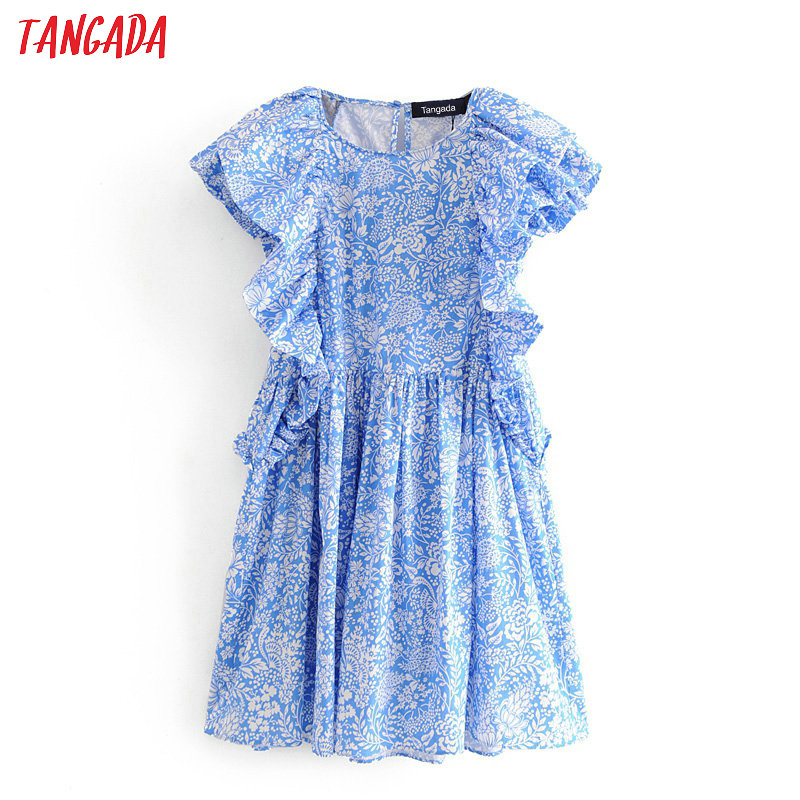 Tangada Summer Fashion Women Blue Floral Print Ruffles Mini Dress Short Sleeve Ladies Vintage Short Dress Vestidos 3H257