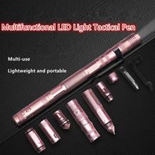 Multifunctional Self-Defense Tactical Pen LED Broken Window Cone Outdoor Survival Aluminum Alloy Multifunctional Tactical Pen
