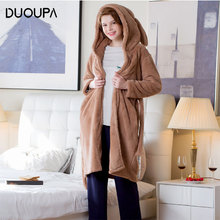 2019 Autumn and Winter Thick Warm Long Section Nightgown Female Hooded Rabbit Ears Cute Furry Pajamas Home Clothes