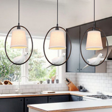 Modern White Cloth Lampshade Bird Pendant Lights Creative Art Novelty Indoor Birdcage Hanging Lighting Pendant Lamp Fixture Cage cheap DEEVOLPO Hand Knitted Parlor Study Master Bedroom other bedrooms Hotel Hall Hotel Room Cord Pendant Resin 10-15square meters
