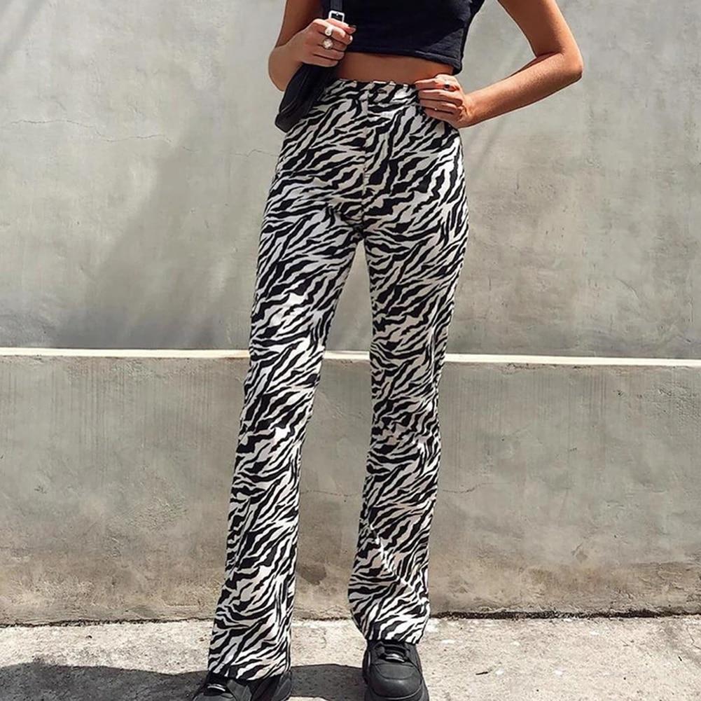 Zebra Pantalones Mujer Striped Joggers Streetwear Straight Pants Women High Waist Trousers Wide Leg Pants Pants Capris Aliexpress