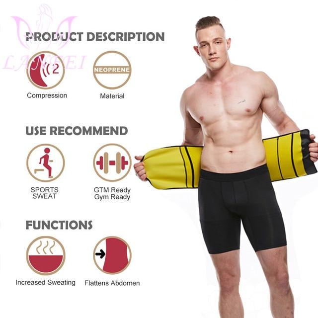 LANFEI Men Neoprene Waist Trainer Corset Sauna Slimming Body Shaper Cincher Sweat Girdle Belt Weight Loss Tummy Control Strap 4