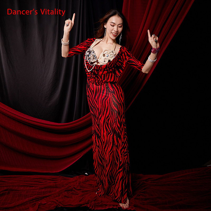 Women Belly Dance Robe Baladi Group Performance Suit Oriental Dance Costume Crystal Long One Piece Dress Training Skirt