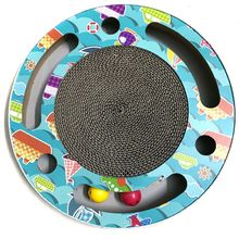 Cat Scratcher Corrugated Cardboard Pads Round Scratching Board with Ball Toy