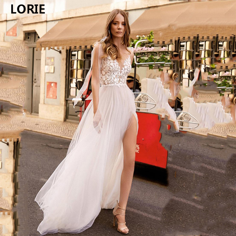 LORIE Lace A Line Wedding Dress Side Split Vestidos De Novia Spaghetti Straps Lace Sexy Bridal Gown