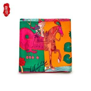 Цветной шарф из натурального шелка, женская мода, бандана с принтом лошади, квадратные шарфы для дам, 90 см, шаль, роскошный бренд, Foulard Soie
