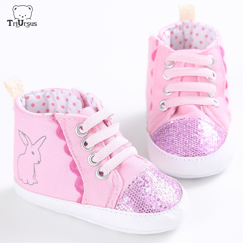 Triursus Brand Baby Bunny Shoes Infant Girls Bunny Sneakers 2020 Spring Autumn Prewalker Shoes Lace Up Baby Girl Sport Shoes