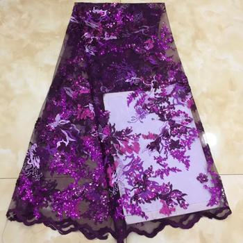 NaXiu Latest Flowers French Nigerian Sequins Mesh Lace Fabrics 2020 High Quality Lace African Laces Fabric Wedding Dress