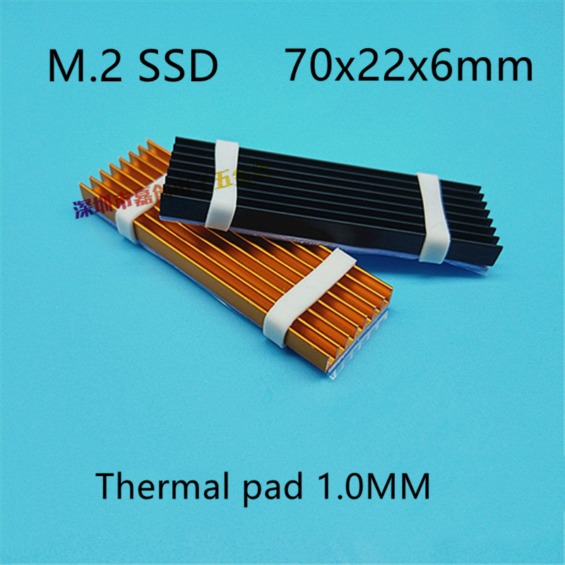 M.2 SSD Hard Disk Heat Sink With Thermal Pad  70x22x6MM Laptop Hard Disk Ssd Aluminum Fin  Nvme 512