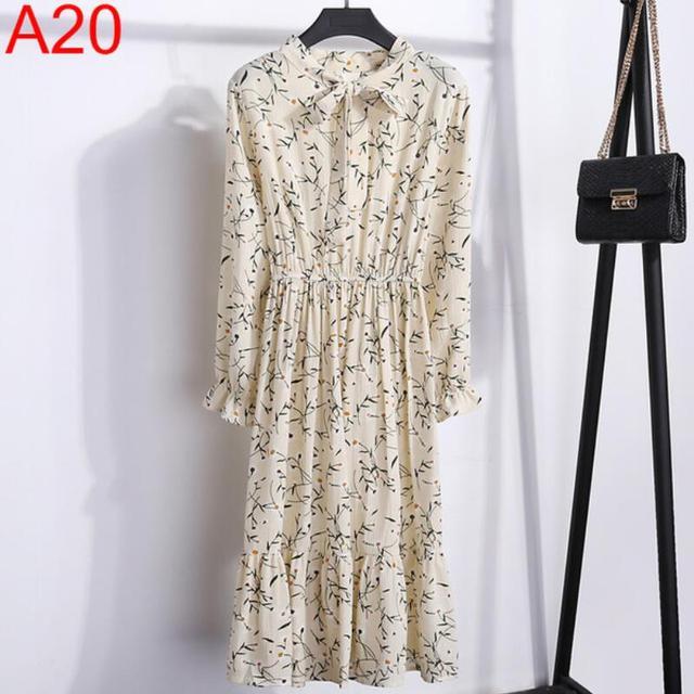 Women Casual Autumn Dress Lady Korean Style Vintage Floral Printed Chiffon Shirt Dress Long Sleeve Bow Midi Summer Dress Vestido 6