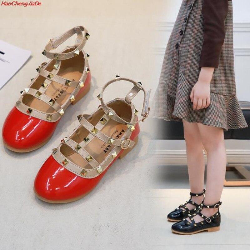 Autumn Kids Fashion Princess Wedges Shoes Girl Korean Rivets PU Leather Red Child Dance Shoes School Girl Shoes Big/Little Kids