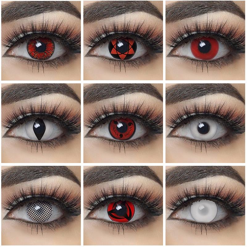 1 пара линзы для косплея Наруто Хэллоуин Цвет ed контактные линзы для глаз красные белые линзы аниме контактные линзы для глаз цвет Sharingan