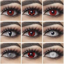 Lentes de contacto para Cosplay, lentillas de Color rojo y blanco para ojos de Halloween, 1 par