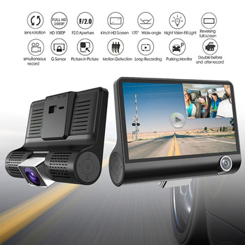 Hot 4.0in Car DVR Camera Rear View Auto Registrator 2 Cameras Dash Cam Carcorder Parking Monitor 3 Way Lens Video Driving Record