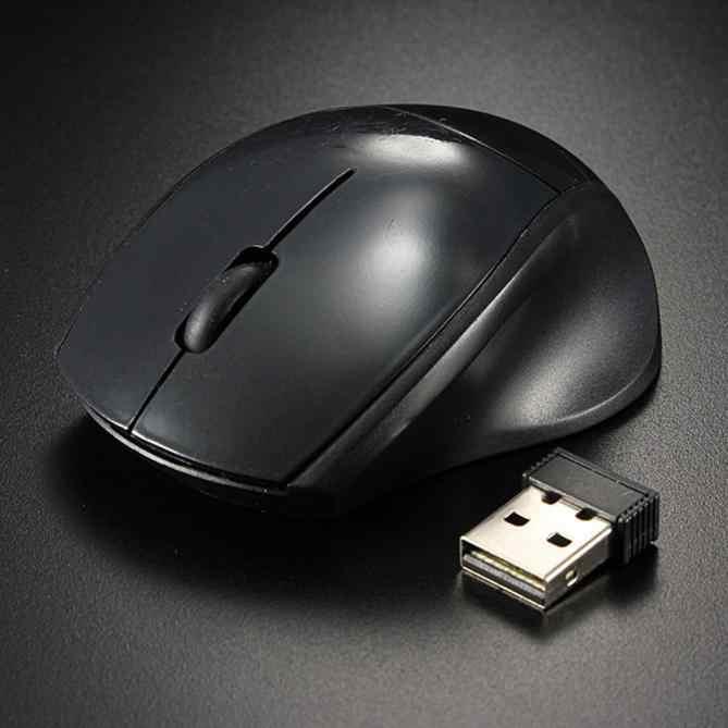 2.4GHz ماوس بصري لاسلكي محمول ماوس أسود صغير لاسلكي USB استقبال 3 أزرار الفئران لأجهزة الكمبيوتر المحمول جهاز كمبيوتر شخصي